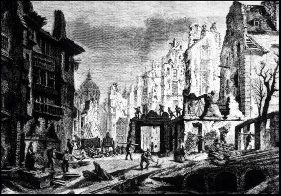 Depiction of the mid-19th century destruction of medieval Paris
