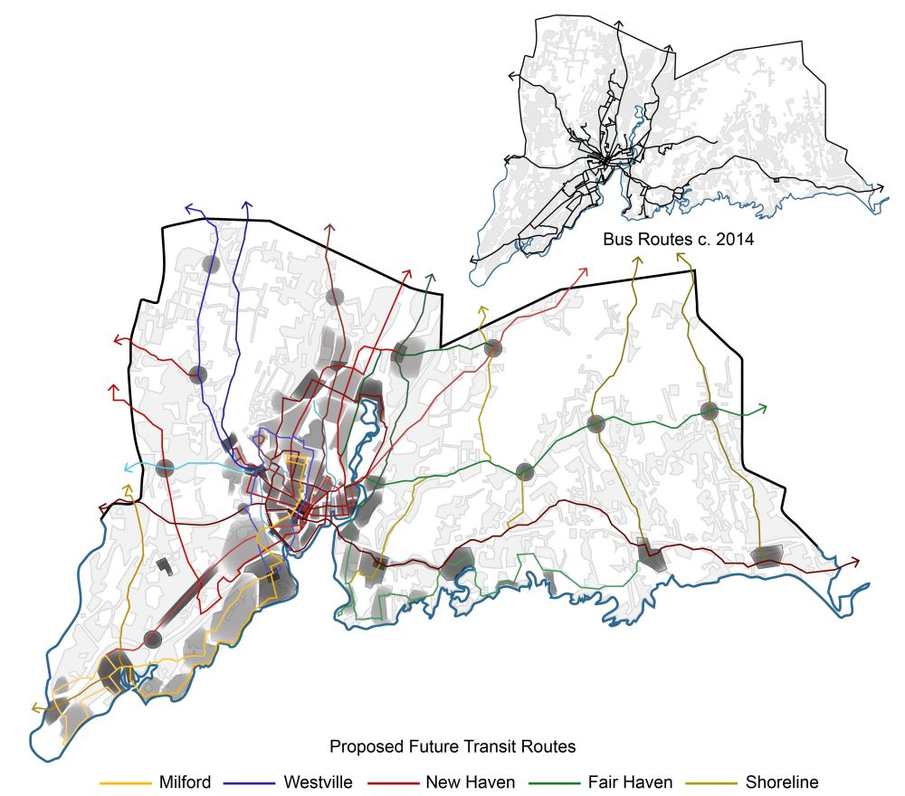 Figure 16_Diagram of Proposed Transit Routes over Urban Density