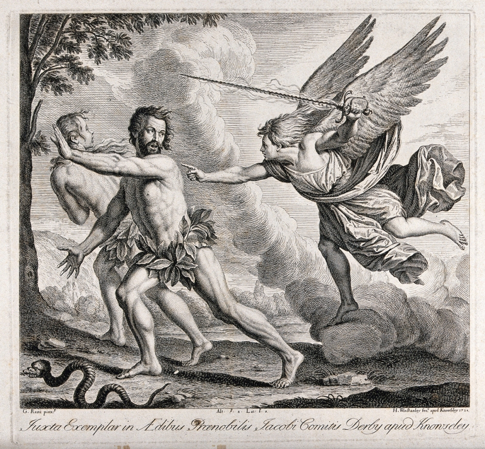 Adam and Eve expelled from Eden by an angel. Etching by H. Winstanley 1728