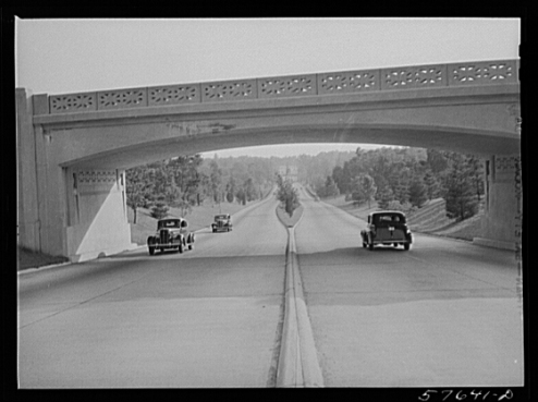Photograph of a bridge crossing the Merritt Parkway in 1941