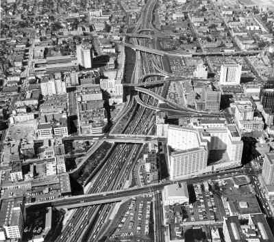 Limited access expressway cutting through a city