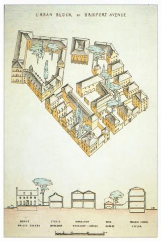 Leon Krier's typical urban block in the Poundbury development in Dorset, England