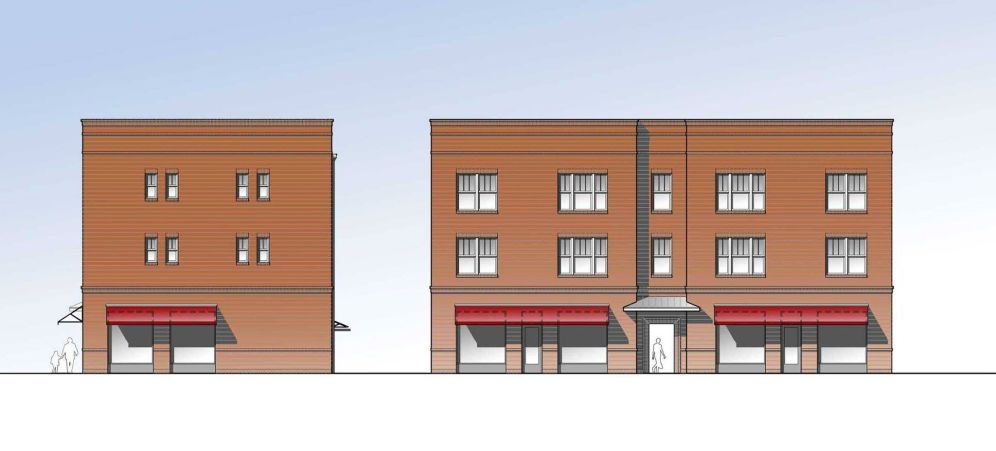 Figure 21a. Low-cost, single stair, multi-story, and mixed-use walk-up building elevations