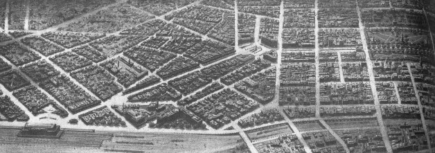 Figure 34. Final rendered drawing of Gilbert's design for New Haven's center (Report of the New Haven CivicImprovement Commission)