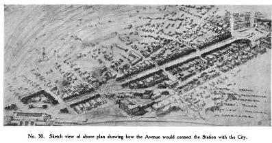 Figure 18. Preliminary aerial view sketch of Gilbert's design for the train station approach (Report of the New Haven Civic Improvement Commission)