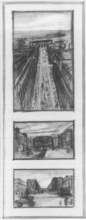 Figure 17. Initial sketches of Gilbert's design for the train station approach (Inventing the Skyline)