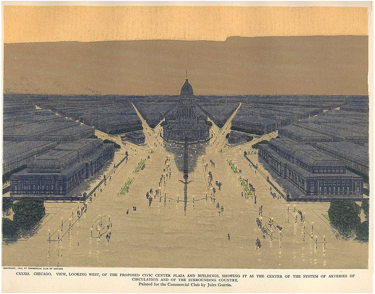 Jules Guerin Aerial Perspective painting_Plan of Chicago