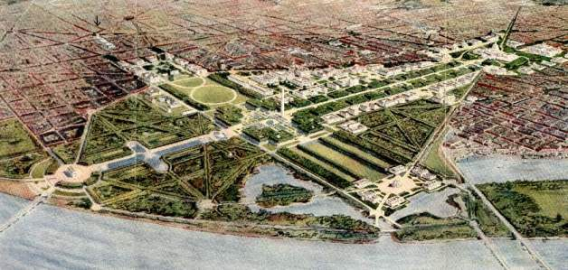 Figure 33. Aerial view of McMillan Plan (Cornell University Library)
