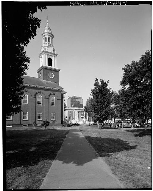 Figure 23. Contemporary view of the New Haven Green looking towards the Gilbert's library with United Church onthe right (Library of Congress)