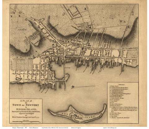 """Newport in 1777 """"A Plan of the Town of Newport in Rhode Island surveyed by Charles Blaskowitz"""" (Will. Faden, Charing Crofs; Sept. 1, 1777)"""