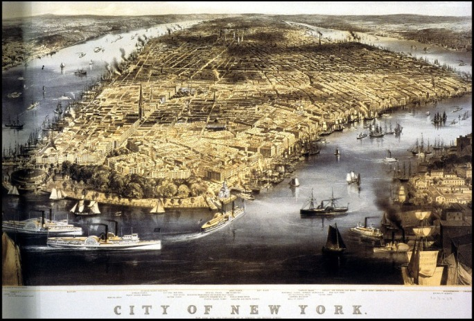 Figure 28. Aerial View of New York City, 1856 (Library of Congress)