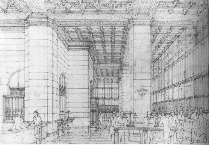 Figure 30. Rendered perspective drawing of the Woolworth's banking room (Inventing the Skyline)