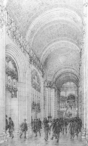 Figure 29. Rendered perspective drawing of the Woolworth's public lobby space (Inventing the Skyline)