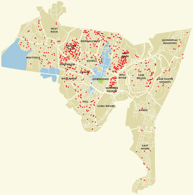 Location of houses bought through Yale Homebuyer Program (1994-2009)